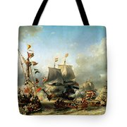 The Embarkation Of Ruyter And William De Witt In 1667 Tote Bag
