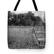 The End Of The Fence Bw Tote Bag