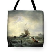 The Entrance To The Harbour At Hellevoetsluys Tote Bag