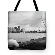 The Erasmus Bridge In Rotterdam Bw Tote Bag
