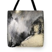 The Falling Flakes Mountain Scene. Yosemite A Mountain Snowfall Tote Bag