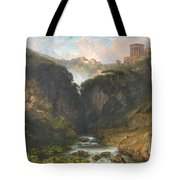 The Falls Of Tivoli With The Temple Of Vesta  Tote Bag