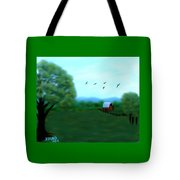 The Farm Below The Mountains Tote Bag