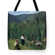 The Farmer And His Son At Harvesting Tote Bag