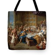 The Feast Of Dido And Aeneas. An Allegorical Portrait Of The Family Of The Duc And Duchesse Du Maine Tote Bag