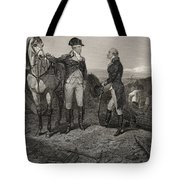 The First Meeting Of George Washington And Alexander Hamilton Tote Bag