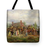 The First Railroad Train On The Mohawk And Hudson River Tote Bag