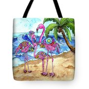 The Flamingo Family's Day At The Beach Tote Bag