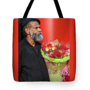 The Flower Vendor - Man Selling Roses Tote Bag