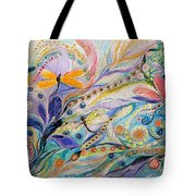 The Flowers And Dragonflies Tote Bag