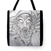 The Fool The King Original Black And White Pen Art By Rune Larsen Tote Bag
