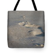 The Footprint Of Invisible Man On The Sand Tote Bag