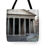 The Fountain In Front Of Pantheon Tote Bag