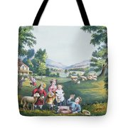 The Four Seasons Of Life Childhood Tote Bag by Currier and Ives