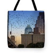 The Frost Bank Tower Stands Guard As 1.5 Million Mexican Free-tail Bats Overtake The Austin Skyline As They Exit The Congress Avenue Bridge Tote Bag