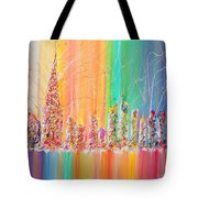 The Future City Abstract Painting  Tote Bag by Julia Apostolova