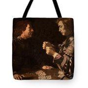 The Gamblers Tote Bag by Michelangelo Caravaggio