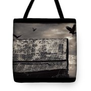 The Gathering - Vultures Above An Old Barn Tote Bag