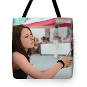 The Girl-artist  Draws A Portrait Tote Bag