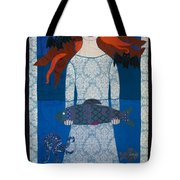 The Girl With Bats And Fish Tote Bag