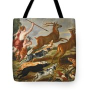 The Goddess Diana And Her Nymphs Hunting Deer Tote Bag