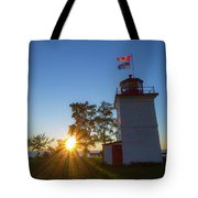 The Goderich Lighthouse At Sunset Tote Bag
