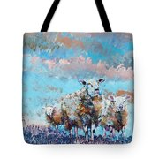 The Golden Flock - Colorful Sheep Art Tote Bag