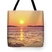 The Golden Hour And Ice Drift Tote Bag