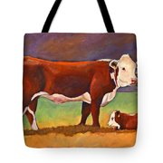 The Good Mom Folk Art Hereford Cow And Calf Tote Bag