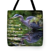 The Great Blue Heron Hunting For Food Tote Bag