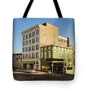 The Green Building On The Corner Tote Bag