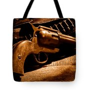 The Gun That Won The West - Sepia Tote Bag