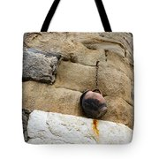 The Hanging Jar - Rough Weathered Stones Rust And Ceramics - A Vertical View Tote Bag