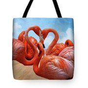 The Heart Of The Flamingos Tote Bag