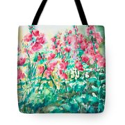 The Hollyhock Field Tote Bag