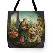 The Holy Family With Angels Tote Bag