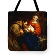 The Holy Family With Saint Francis Tote Bag by Jacob van Oost