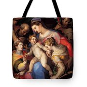 The Holy Family With St Catherine Of Alexandria, St Margaret Of Antioch And St Francis Of Assisi  Tote Bag