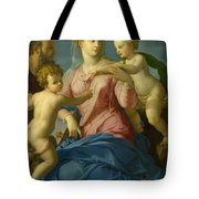 The Holy Family With The Infant Saint John The Baptist, Madonna Stroganoff  Tote Bag