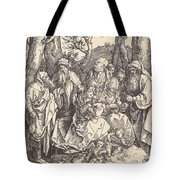 The Holy Family With Two Music-making Angels Tote Bag