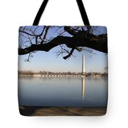 The Iced-over Tidal Basin In Mid-winter Tote Bag