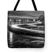 The Icy Charles River At Night Boston Ma Cambridge Black And White Tote Bag