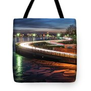 The Icy Charles River At Night Boston Ma Cambridge Tote Bag