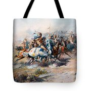 The Indian Encirclement Of General Custer At The Battle Of The Little Big Horn Tote Bag