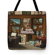 The Interior Of A Picture Gallery With Connoisseurs Admiring Paintings Tote Bag