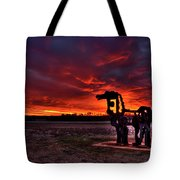 The Iron Horse Red Sky Sunset Tote Bag