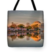 The Jefferson Memorial And Cherry Trees In Bloom Tote Bag