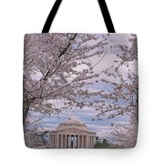 The Jefferson Memorial Attracts Large Crowds At The Cherry Blossom Festival Tote Bag