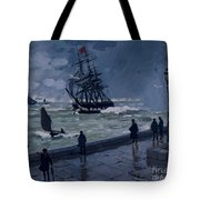 The Jetty At Le Havre In Bad Weather Tote Bag