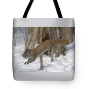 The Jumping American Red Squirrel Tote Bag